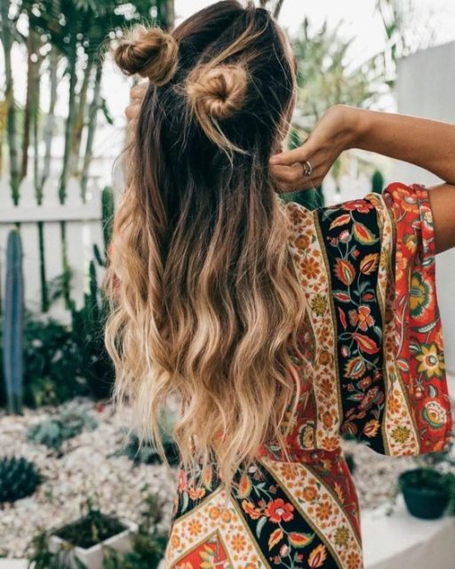 space buns, hairstyle with scarf, hairstyle with pins, long hair, short hair, curly hair, pinmumakeupideas.com